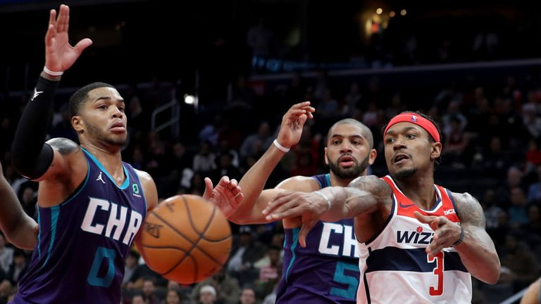 Washington Wizards against Charlotte Hornets in the NBA