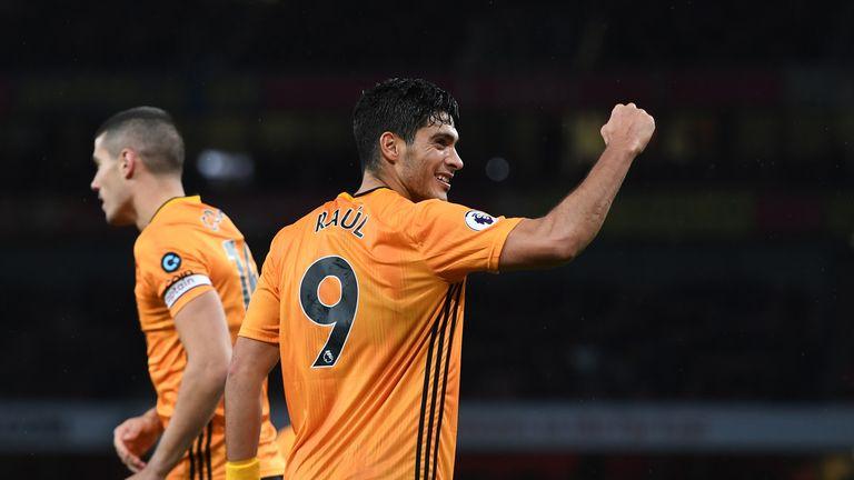 Raul Jimenez celebrates his equaliser for Wolves against Arsenal