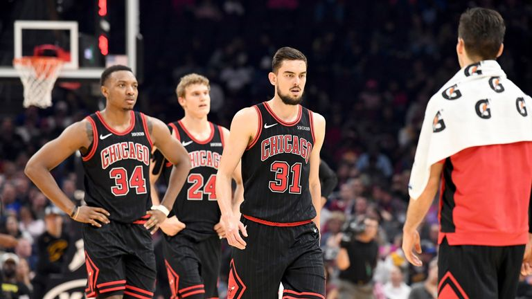 Wendell Carter, Lauri Markkanen and Tomas Satoransky in action for the Chicago Bulls