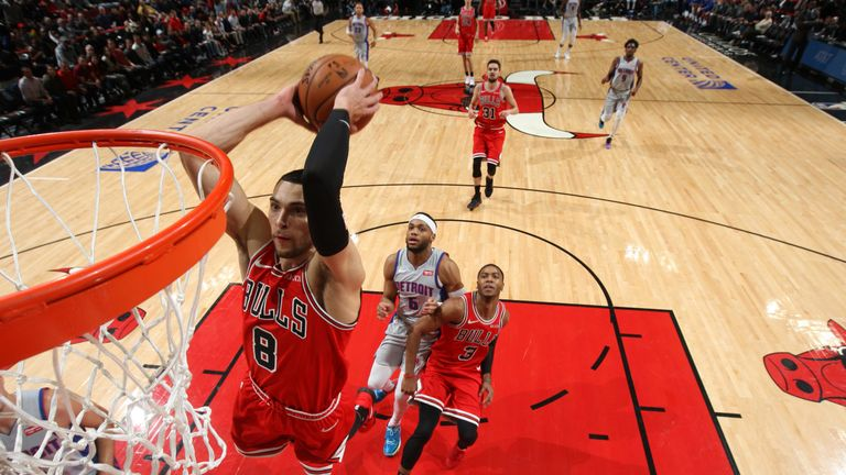 Zach LaVine soars for a dunk against the Detroit Pistons