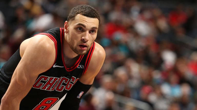 Zach LaVIne in action during the Chicago Bulls win over the Charlotte Hornets