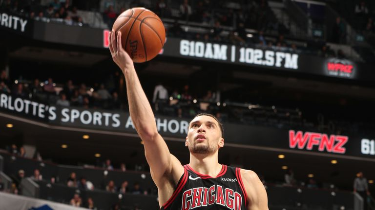 Zach LaVine scores en route to a career-best 49 points in Chicago's win over Charlotte