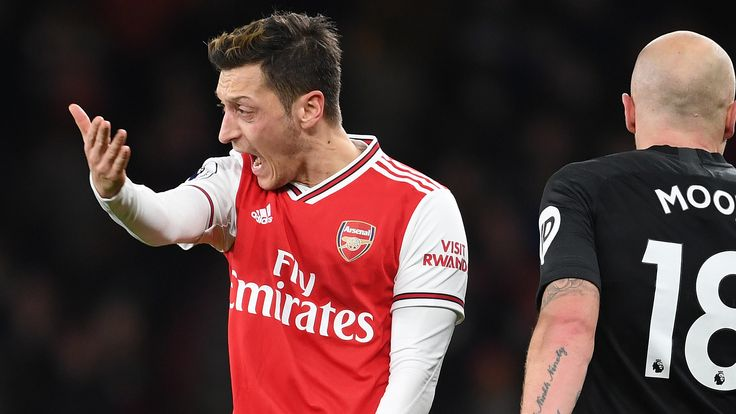 LONDON, ENGLAND - DECEMBER 05: Mesut Ozil of Arsenal during the Premier League match between Arsenal FC and Brighton & Hove Albion at Emirates Stadium on December 05, 2019 in London, United Kingdom. (Photo by Stuart MacFarlane/Arsenal FC via Getty Images)