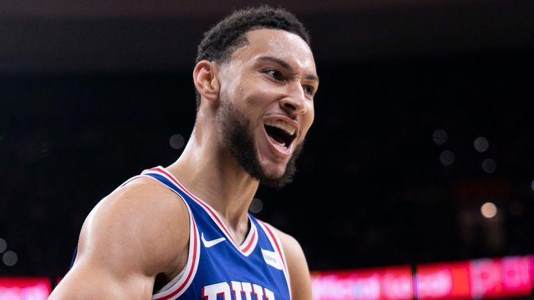 Ben Simmons celebrates a basket during Philadelphia's win over Utah