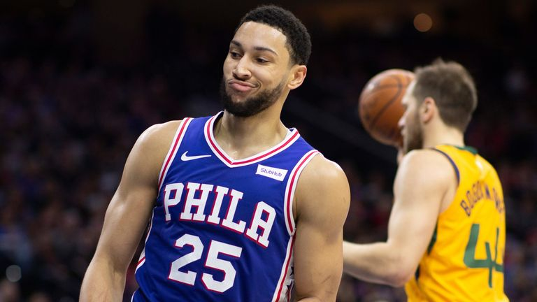 Ben Simmons reacts after scoring against the Utah Jazz