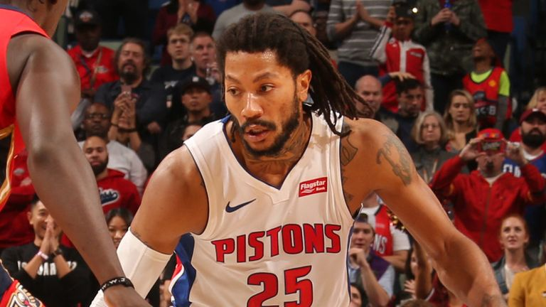 Derrick Rose attacks Jrue Holiday during the Pistons dramatic win over the Pelicans