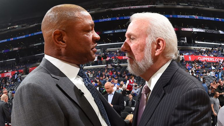 Doc Rivers and Gregg Popovich share a moment during the playoffs