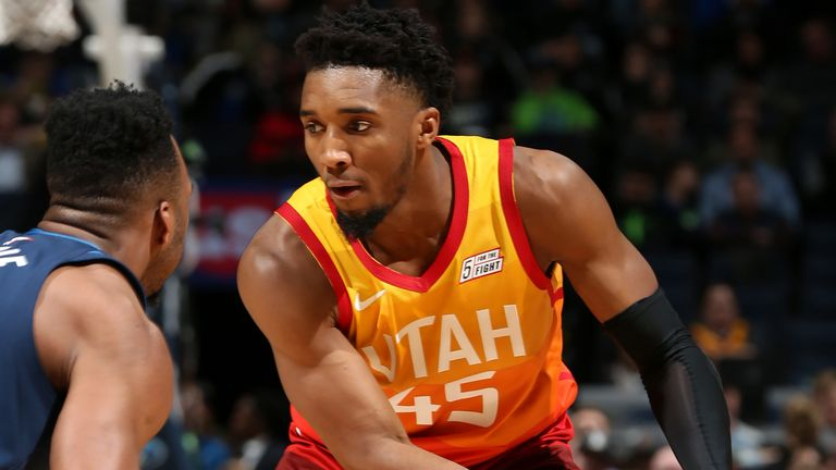 Donovan Mitchell prepares to attack the Timberwolves defense
