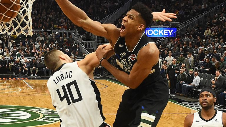 Giannis Antetokounmpo unleashes a vicious dunk on Ivica Zubac