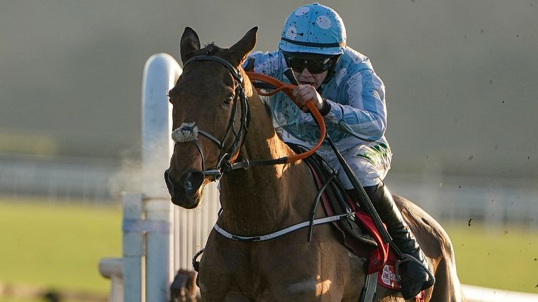 RATOATH, IRELAND - DECEMBER 01: rachael Blackmore riding Honeysuckle clear the last to win The baroneracing.com Hatton's Grace Hurdle at Fairyhouse Racecourse on December 01, 2019 in Ratoath, Ireland. (Photo by Alan Crowhurst/Getty Images)