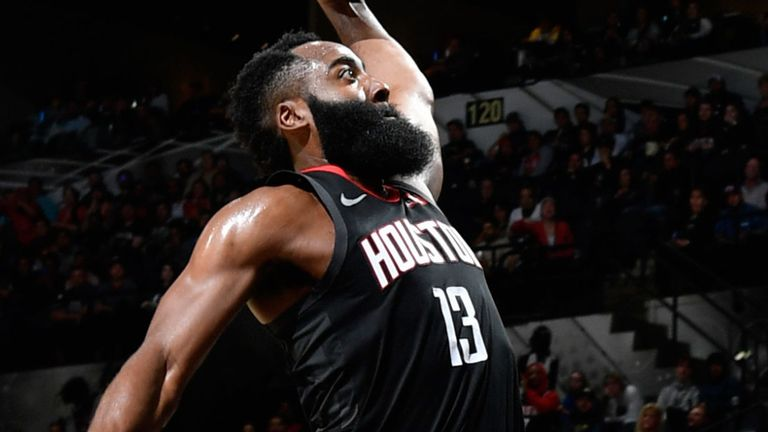 James Harden rises to ram home a dunk that was ruled out in confusing circumstances