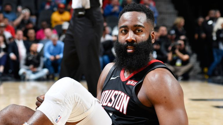 James Harden reacts after being fouled during Houston's double-overtime loss to the San Antonio Spurs