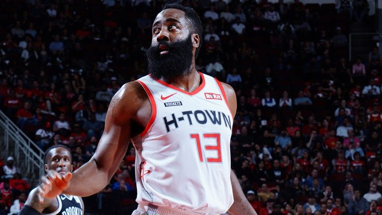James Harden in action for Houston against Brooklyn