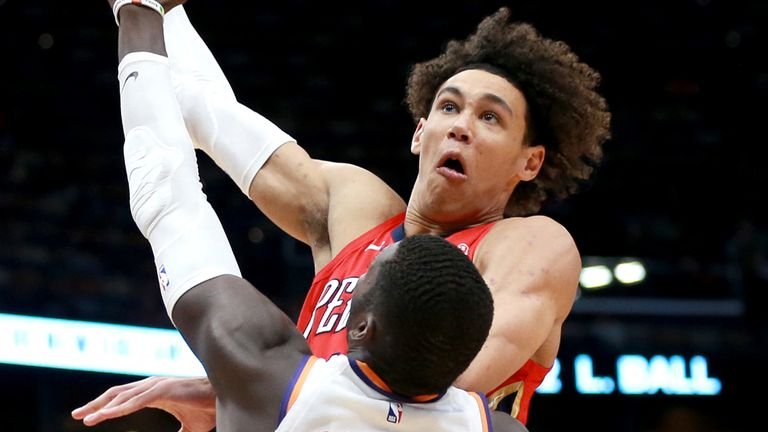 Jaxson Hayes elevates to score with a huge right-handed slam against the Phoenix Suns