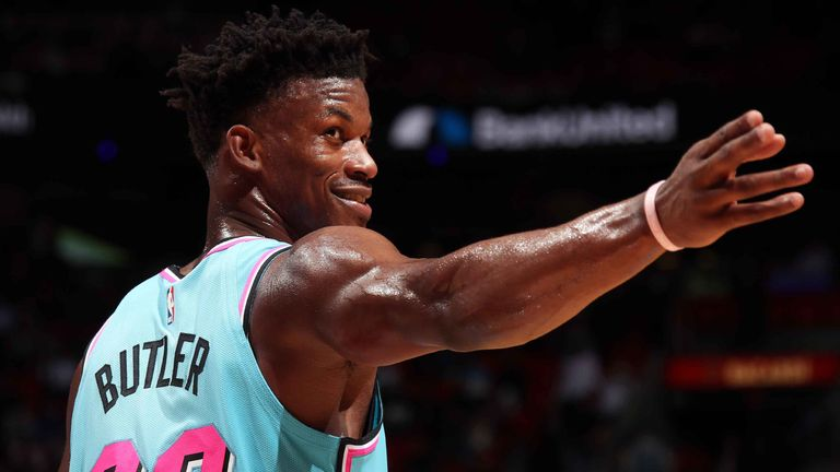 Jimmy Butler signals to a team-mate during the Heat's win over the Wizards