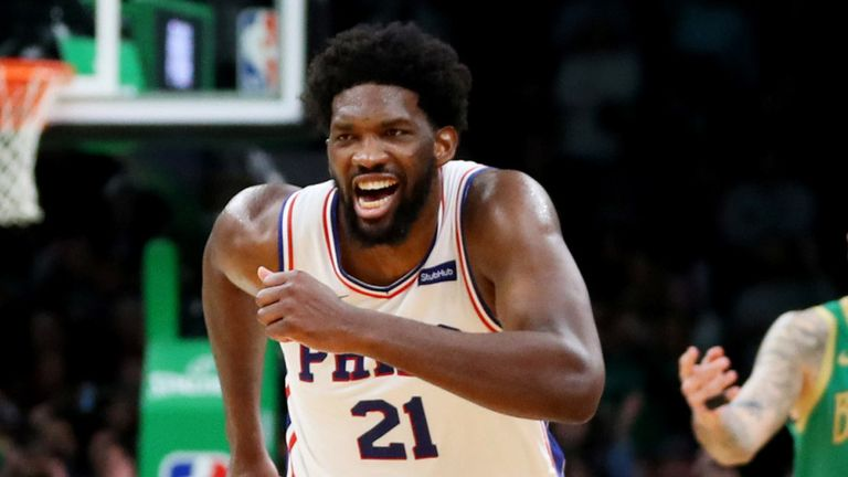 Joel Embiid races back down the court against Boston