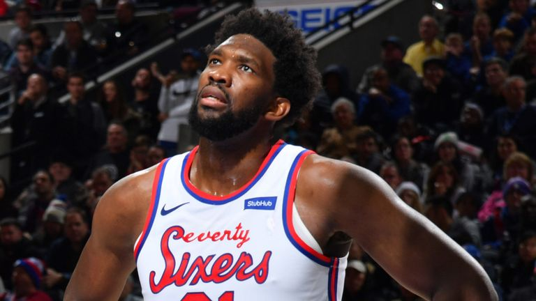 Joel Embiid in action for Philly against Dallas