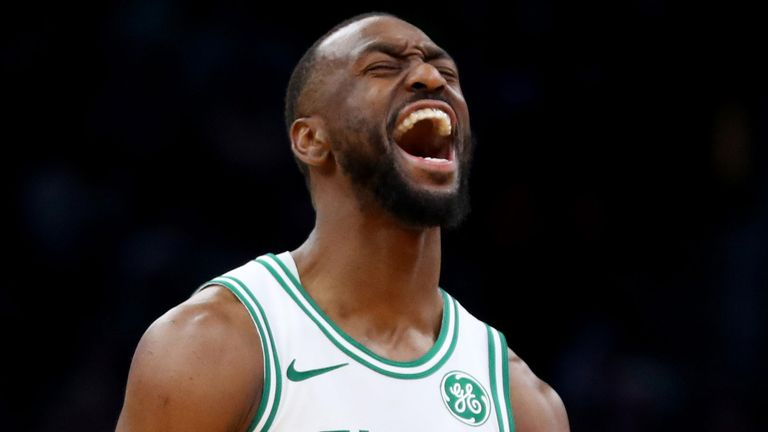 Kemba Walker celebrates after draining a three-pointer against Miami