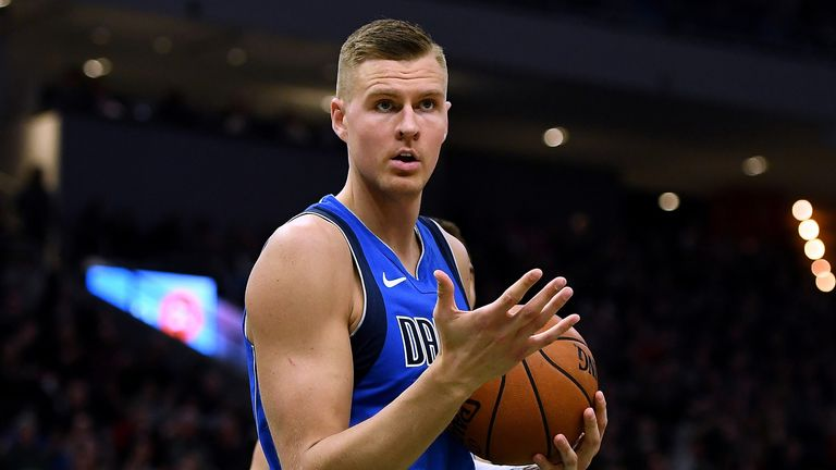 Kristaps Porzingis in action during Dallas' win over Milwaukee