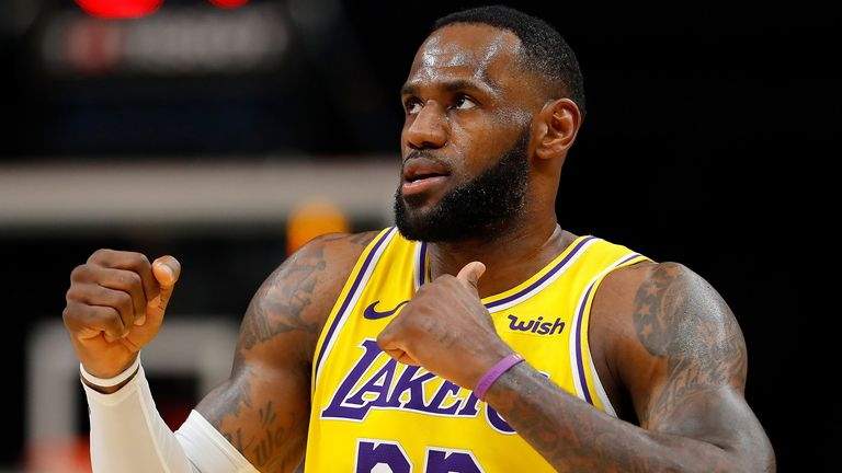 LeBron James shimmies after scoring against the Atlanta Hawks