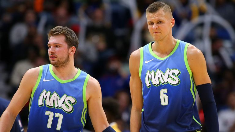 Luka Doncic encourages Dallas team-mate Kristaps Porzingis