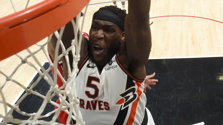Montrezl Harrell throws down a dunk en route to 26 points against Portland