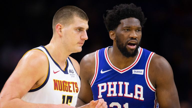 Nikola Jokic and Joel Embiid match up during the Sixers' clash with the Nuggets