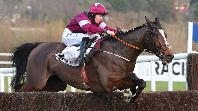 Notebook on his way to victory in the Racing Post Novice Chase at Leopardstown