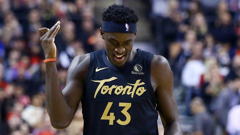 Pascal Siakam celebrates a basket during Toronto's win over the New York Knicks
