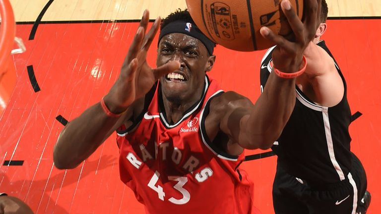 Pascal Siakam elevates to the rim to score against Cleveland