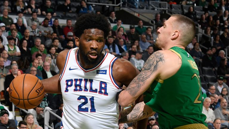 Joel Embiid drives by Daniel Theis