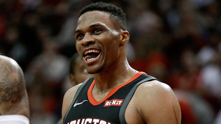 Russell Westbrook celebrates a basket in Houston's win over San Antonio
