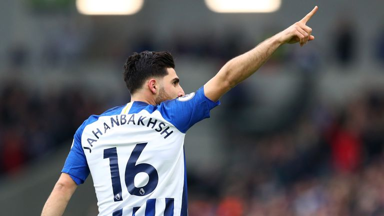 Alireza Jahanbakhsh celebrates his early against Bournemouth