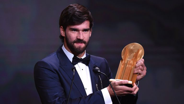 Liverpool goalkeeper Alisson  claimed the Yashin Trophy ahead of Barcelona's Marc-Andre ter Stegen and Manchester City's Ederson