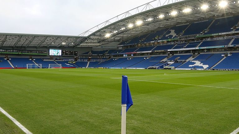 Two Wolves fans were arrested during Brighton's match against Wolves at the Amex Stadium on Sunday