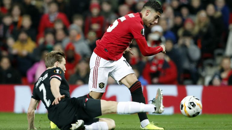 Andreas Pereira is tackled during the Europa League tie between Manchester United and AZ Alkmaar