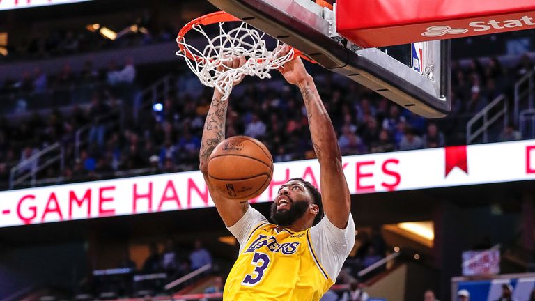 Anthony Davis of the Los Angeles Lakers goes up for a dunk during the game against the Orlando Magic