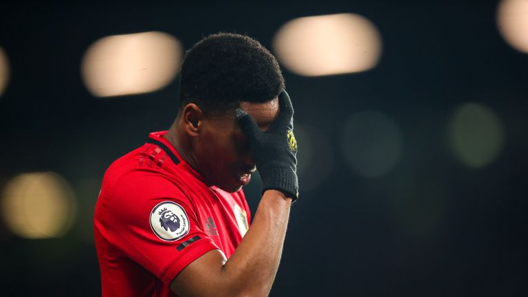 Anthony Martial shows his frustration against Aston Villa