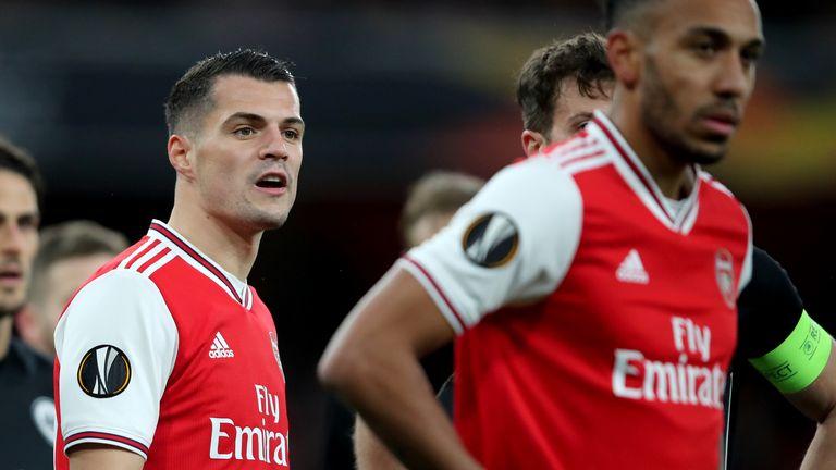 Granit Xhaka has returned to the Arsenal side under Freddie Ljungberg