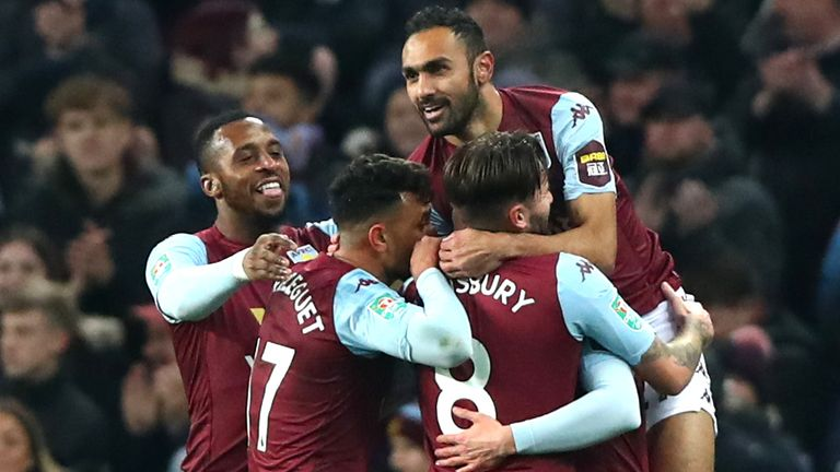 Aston Villa celebrate after Conor Hourihane scores against Liverpool in the Carabao Cup quarter-final