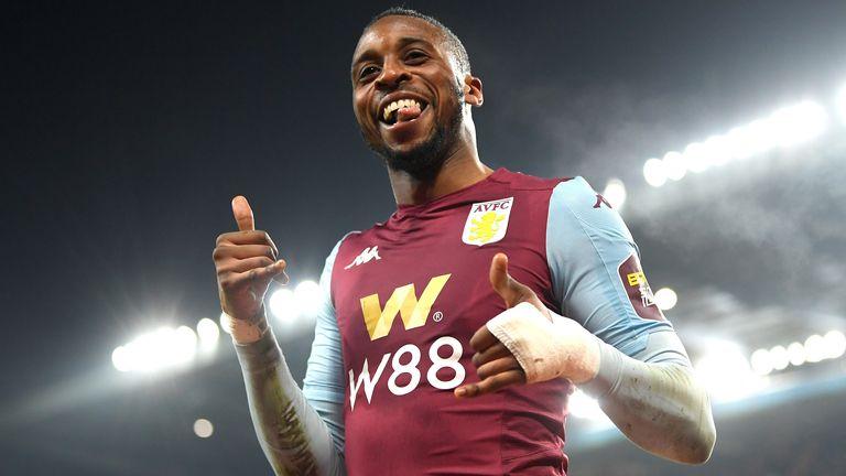 Jonathan Kodija celebrates scoring for Aston Villa in Carabao Cup quarter-final vs Liverpool
