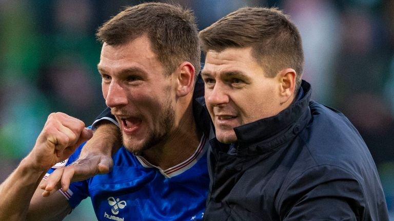Rangers manager Steven Gerrard celebrates with Borna Barisic at full time