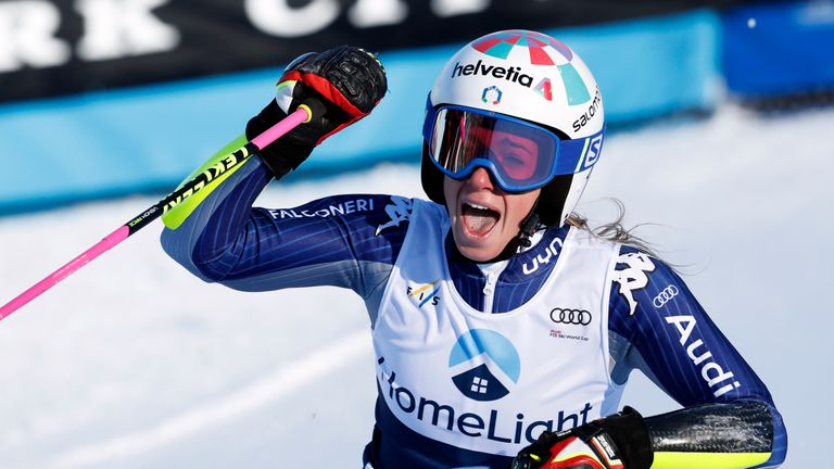 Marta Bassino of Italy takes 1st place during the Audi FIS Alpine Ski World Cup Women's Giant Slalom in Killington