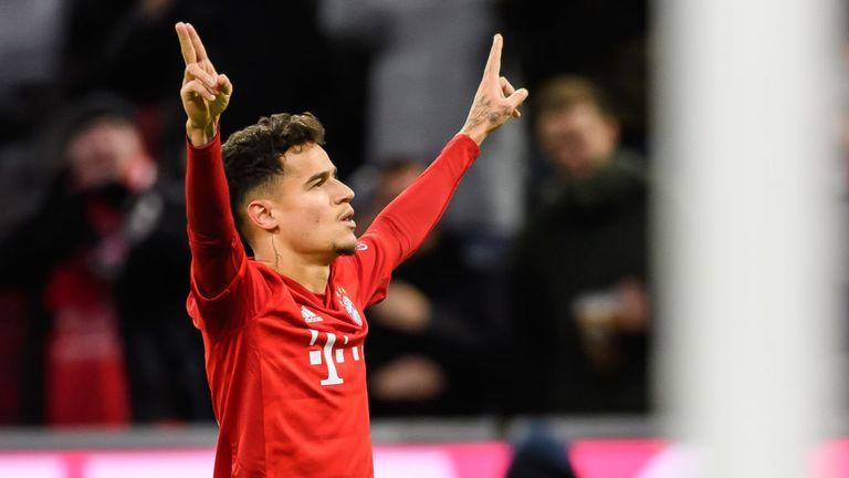 Philippe Coutinho celebrates after scoring for Bayern Munich against Werder Bremen