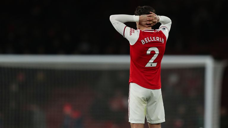 Hector Bellerin shows the strain at full-time against Brighton