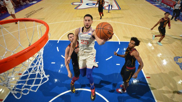Ben Simmons of the Philadelphia 76ers shoots the ball against the Cleveland Cavaliers