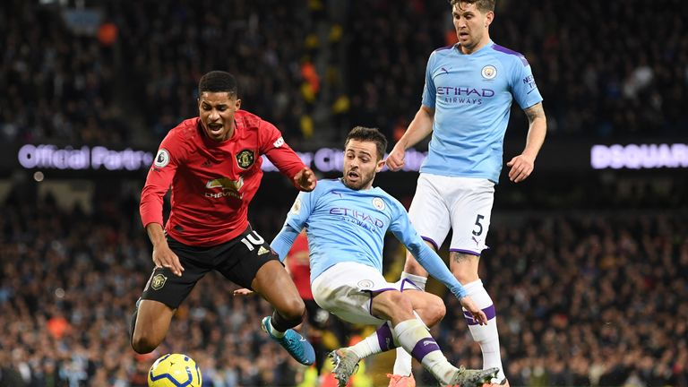 Bernardo Silva fouls Marcus Rashford resulting in a penalty for Manchester United