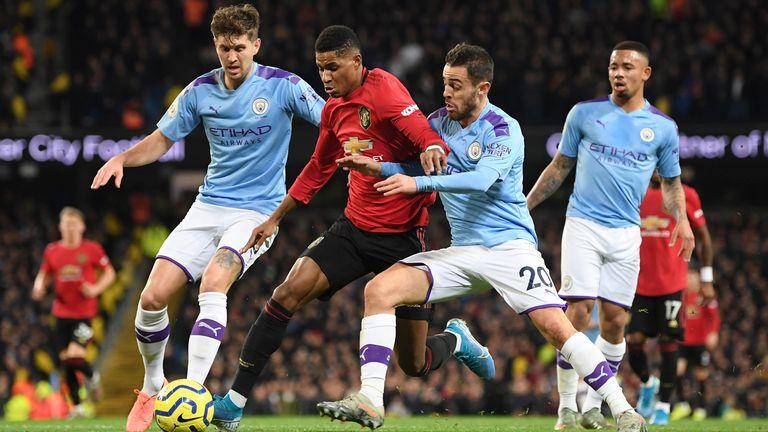 Bernardo Silva fouls Marcus Rashford resulting in a penalty for Manchester United