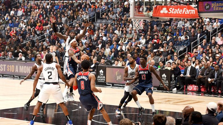 Bradley Beal of the Washington Wizards drives to the basket during a game against the LA Clippers