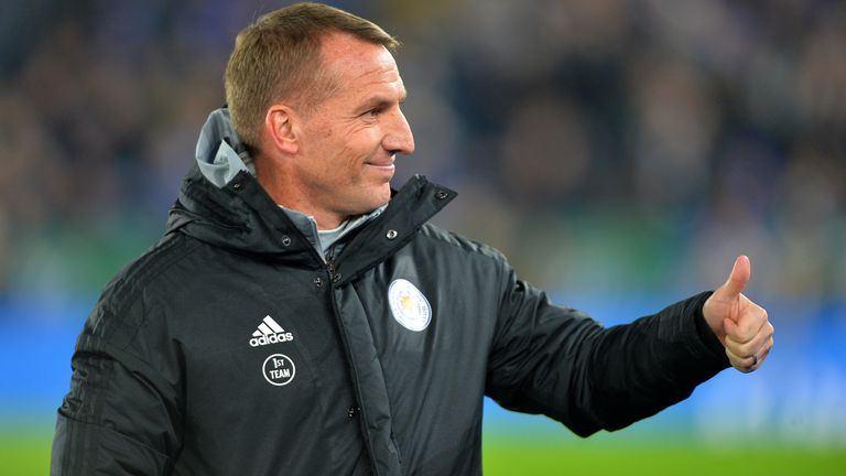 Manager of Leicester City Brendan Rodgers before the Premier League match between Leicester City and Everton FC at King Power Stadium on December 1st, 2019 in Leicester, United Kingdom.